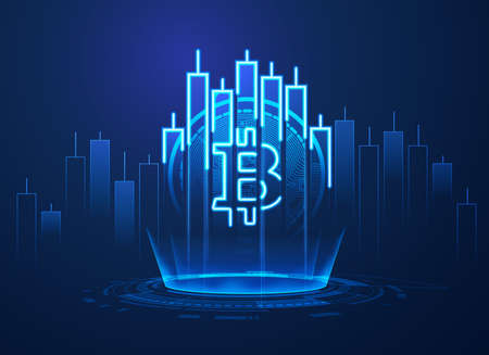 concept of cryptocurrency technology, graphic of bitcoin symbol combined with stock candlestick in financial business theme 矢量图像