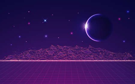 graphic of polygonal land with outer space as background 矢量图像