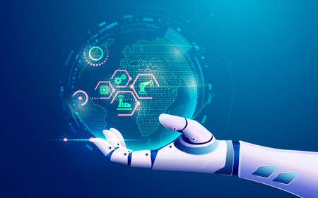 concept of machine learning or internet of things - IOT, graphic of artificial intelligence's hand holding futuristic globe