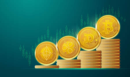 concept of cryptocurrency bullish, graphic of bitcoin with bull market and financial element 免版税图像