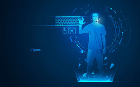 concept of e sport technology, graphic of a teenager as a gamer with futuristic element 矢量图像