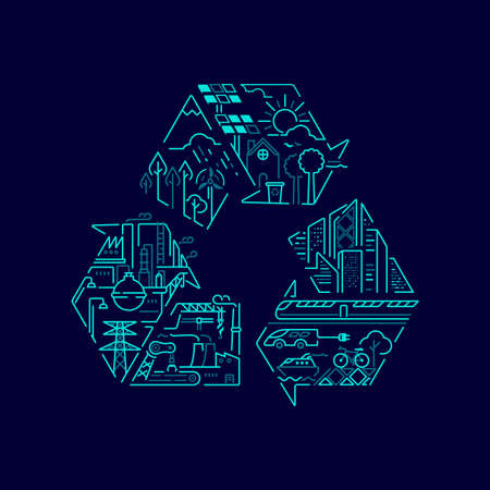 concept of environment conservation or ecology system, graphic of recycle symbol with sustainable meaning inside