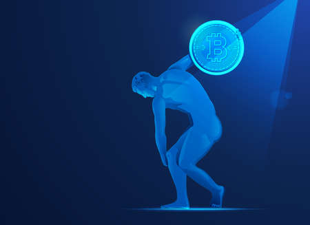 concept of bitcoin investment in Europe, graphic of Discobolus going to throw bitcoin 矢量图像