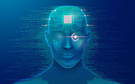 concept of machine learning or deep learning, graphic of artificial intelligence with microchip as brain