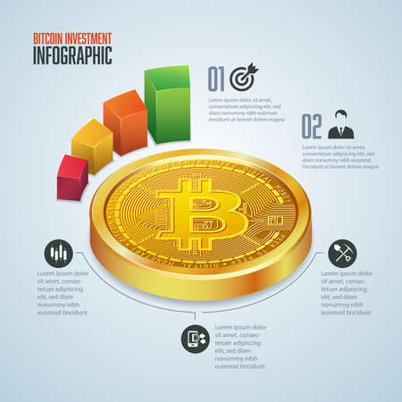 infographic of cryptocurrency invesment, graphic of golden bitcoin in perpective view with financial icons 矢量图像