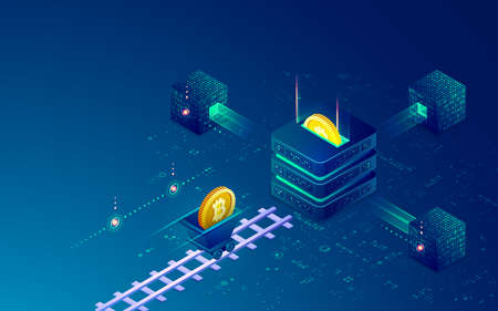 concept of cryptocurrency mining technology, graphic of blockchain with bitcoin and mining tool 矢量图像