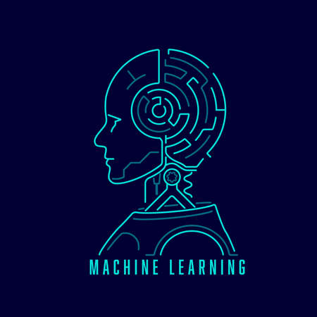 concept of machine learning or deep learning, graphic of artificial intelligence with maze brain 矢量图像
