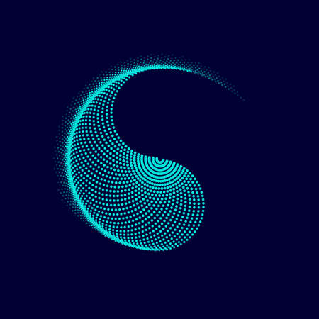 graphic of yin yang presented by dotted blending effect 矢量图像