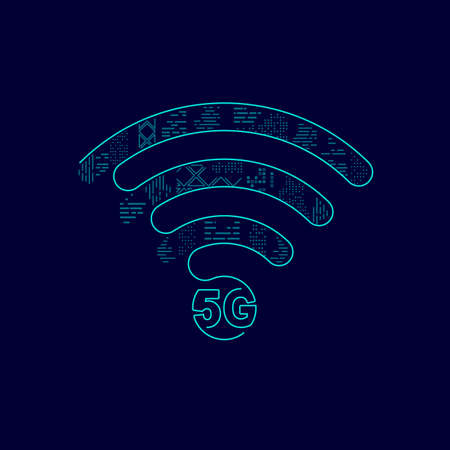 concept of 5g technology, graphic of wifi symbol combined with building