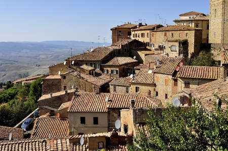 volterra: A view of the houses of Volterra, Tuscany, Italy. A panorama over the roofs . Stock Photo