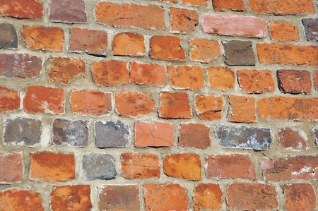 A view of a red brick wall. photo