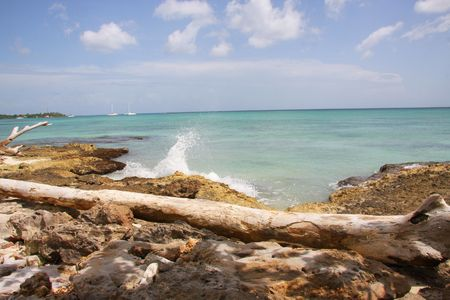 hot rollers: water crashes into rocky caribbean coast