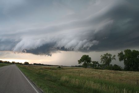 Colfax County North Dakota Supercell produced 3 Tornadoes and Softball sized Hail. Stock Photo