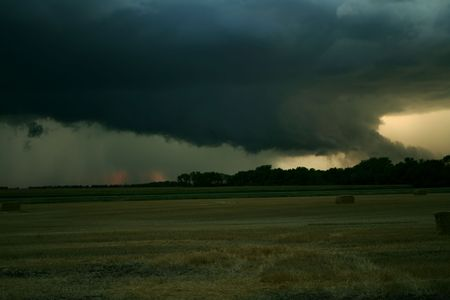 hail: Colfax County North Dakota Supercell produced 3 Tornadoes and Softball sized Hail. Stock Photo