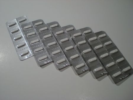 Blister packs of pills lined up Stock Photo