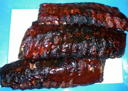 Grilled BBQ Barbecue Ribs Food Pork Stock Photo
