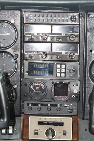 Cockpit and insturment panel of small aircraft Stock Photo