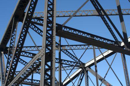Bridge structure on a blue sky background
