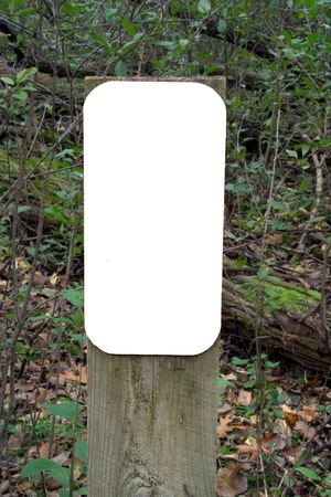 Blank Sign on Forest Trail Stock Photo