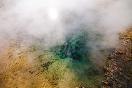 geysers: The colorful minerals in the Tatio geysers, outside of San Pedro de Atacama, Chile Stock Photo