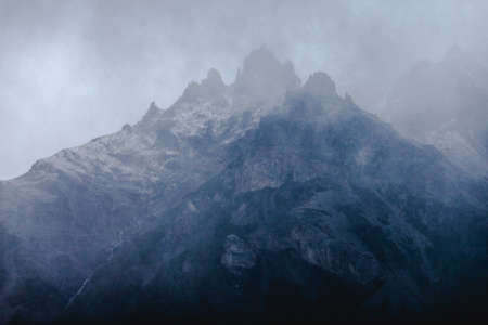 chalten: Mysterious looming mountain peak in the clouds - Chalten - Argentina