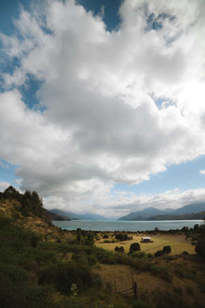 carrera: Old house stands by Lago Gran Carrera - Puerto Rio Tranquilo -  Chile