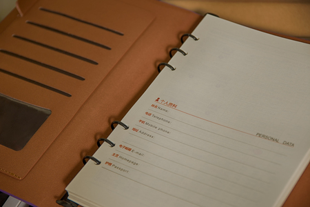 front of: Notebook front page Stock Photo