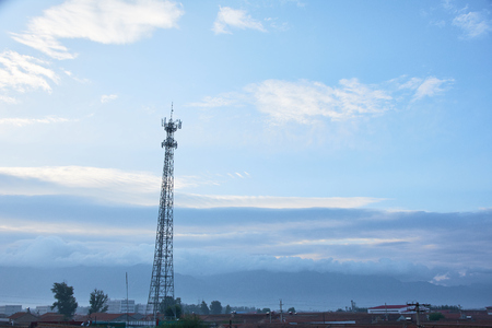 Telecommunication tower in the city