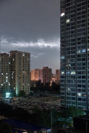 thunder scene in a city of China Stock Photo