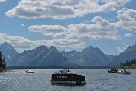 Jackson Lake Marina under the Grand Tetons
