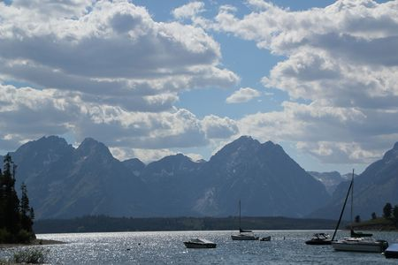 Boats on Jackson Lake under the Grand Tetons
