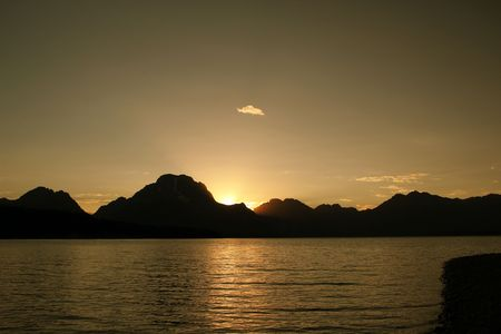 Sunset over Jackson Lake under the Grand Tetons