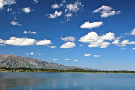Beautiful clouds hover over Jackson Lake