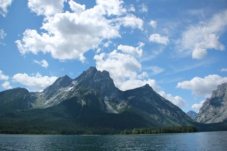 Jackson Lake beneath the Grand Tetons in Wyoming