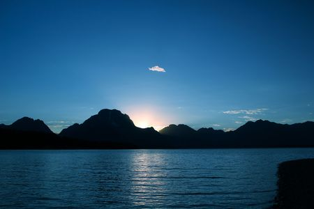 Beautiful sunset on Jackson Lake under the Grand Tetons