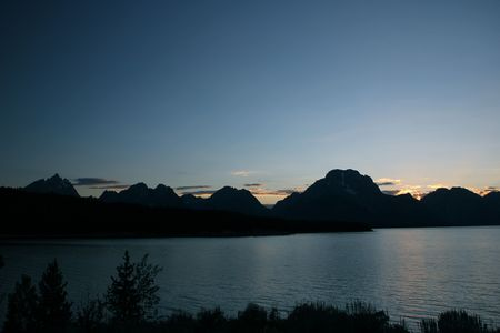 Moments after the sunset behind the Grand Tetons