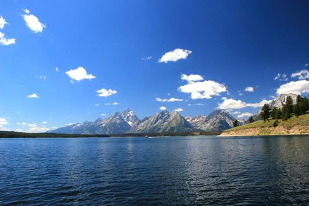 Jackson Lake under the Grand Tetons Wyoming photo