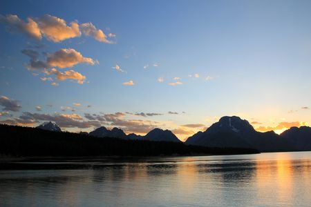 A beautiful sunset with the Grand Tetons