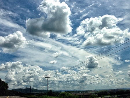 power lines: Sky clouds and power lines