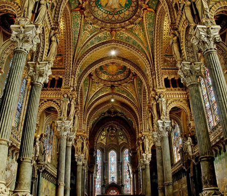 nave: Fourviere basilica nave contains some beautiful stained glass, as well as some 19th century Byzantine art.