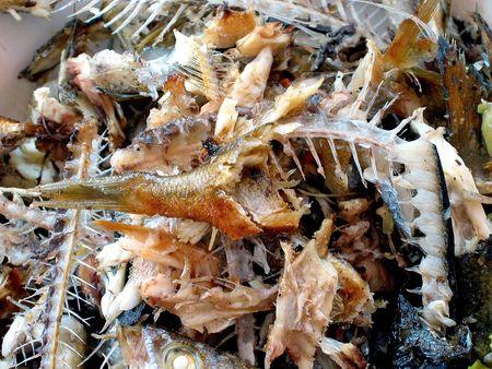 beenderige: Bony vissen in een plaat na barbecue ...