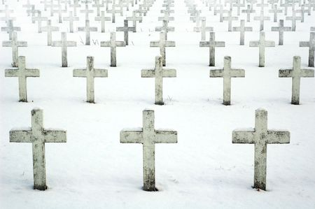 Foggy view of Military Cemetery in Villeurbanne (France)  photo