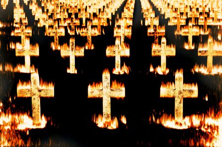 damnation: Crosses in fire
