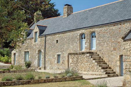 twin house: A Picturesque old house in Carnac - France Stock Photo
