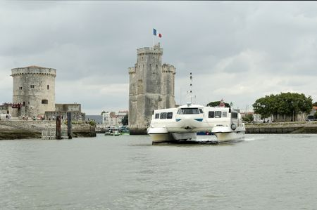 hovercraft: An hovercraft in la Rochelle Harbour (France)