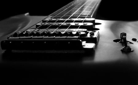 reverb: close up of pick-ups and strings of an electric guitar :sad:(with a short depth of field)