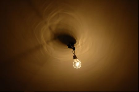 dreary:  light  bulb at ceiling