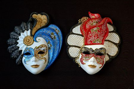 18th: The colours of the masks are typical of 18th century theatre in Italy. Stock Photo