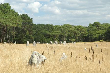 alignments: The small town of Carnac in southern Brittany is world-famous for the long rows of standing stones stretching over a mile or so in a north-easterly direction to the north of the town.