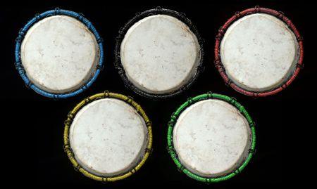 rhythm rhythmic: Tunisian drum on black background.